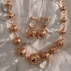 Jewelry - Solid 14K Gold Diamond Bead Necklace & Earrings